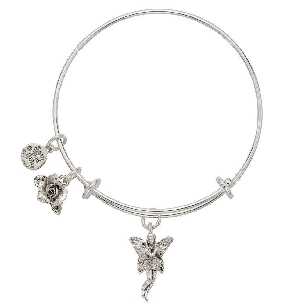 Fairy Rose Charm Bangle Bracelet - SamandNan