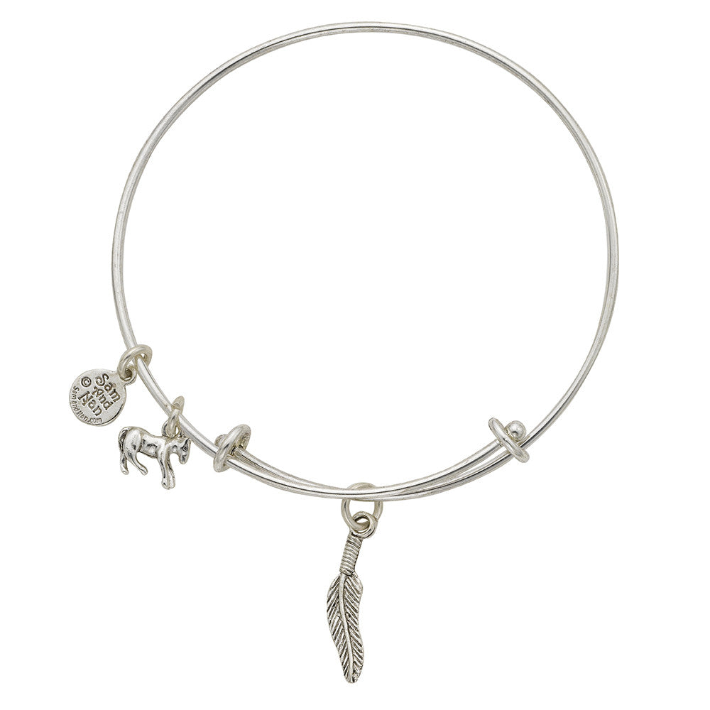 Feather Charm Bangle Bracelet - SamandNan