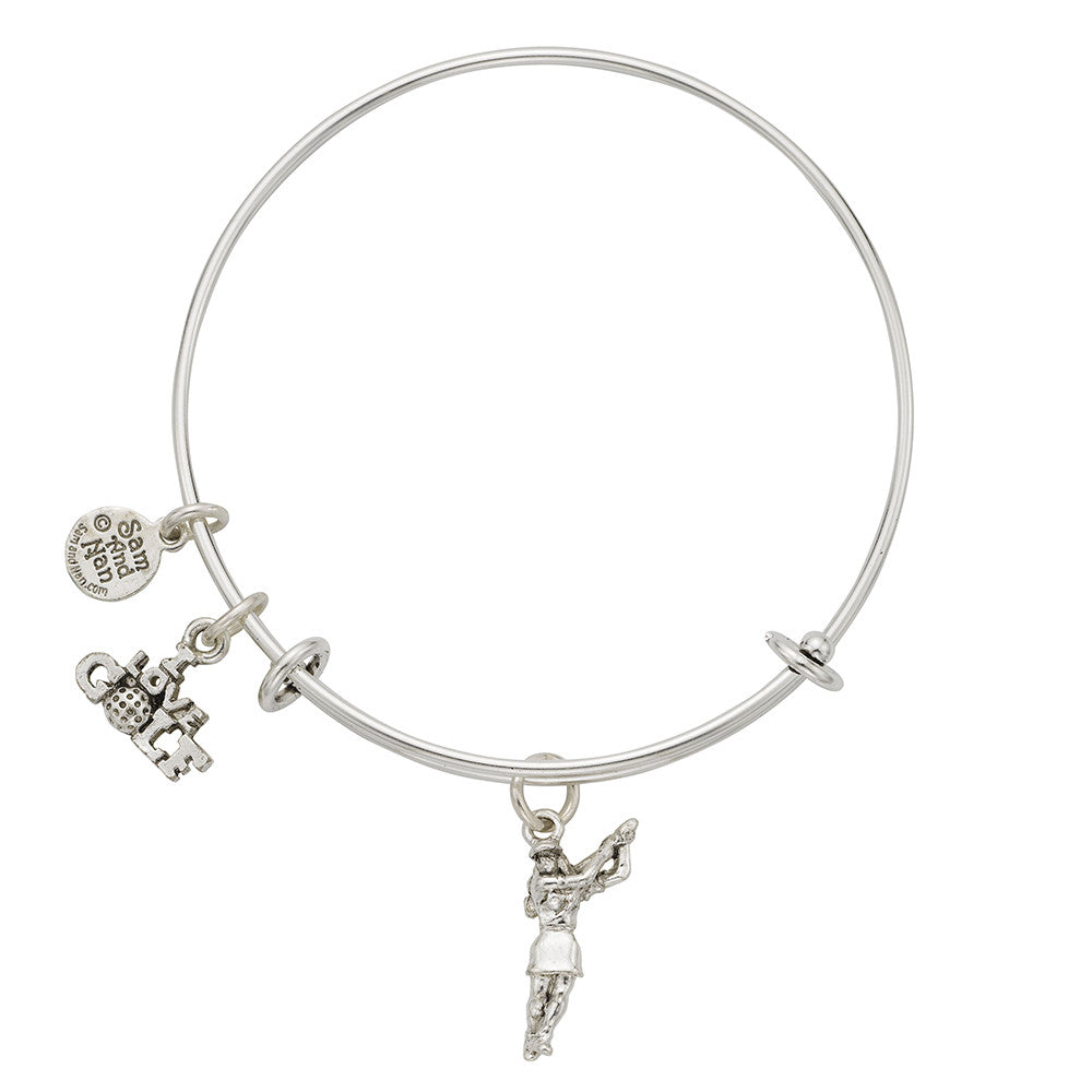Female Golfer I Love Golf Charm Bangle Bracelet - SamandNan