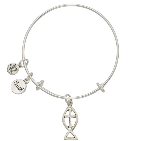 Fisherman's Cross Faith Charm Bangle Bracelet - SamandNan