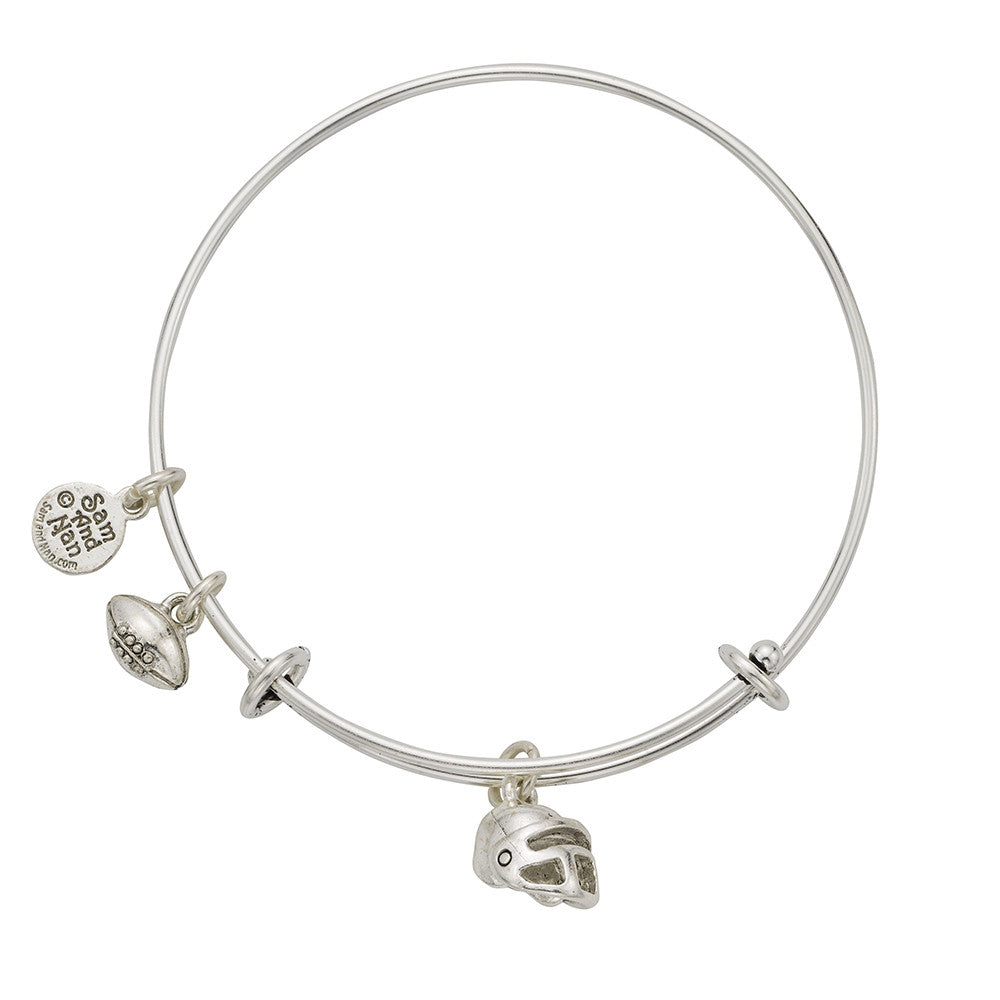 Football Helmet Charm Bangle Bracelet - SamandNan