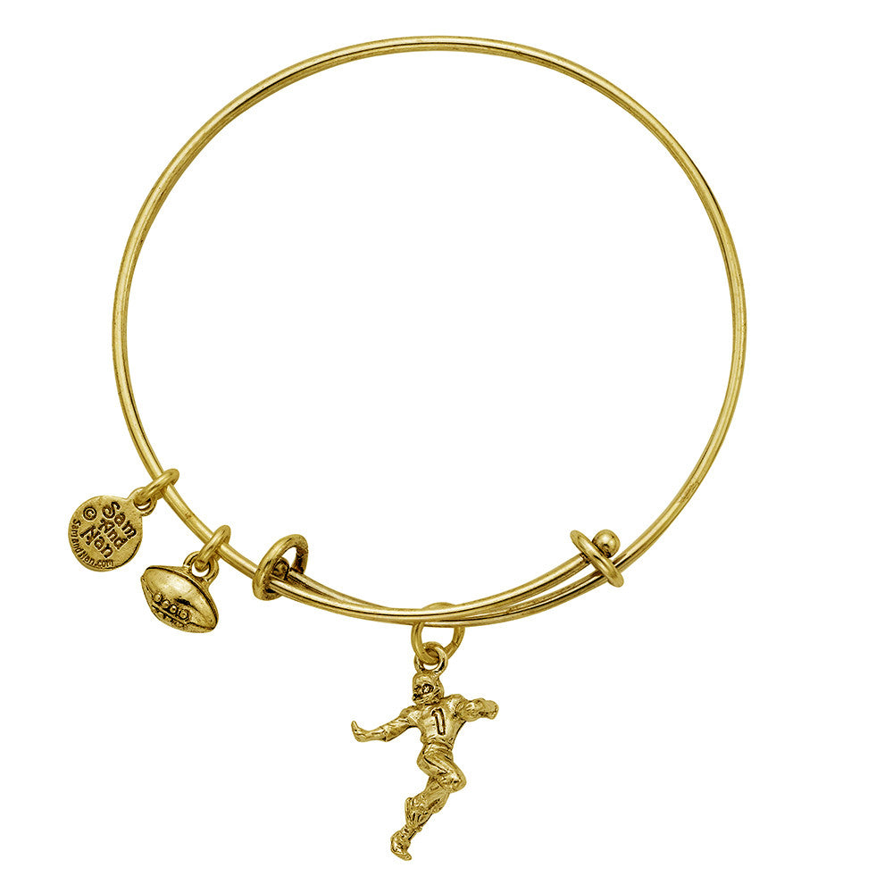 Football Player Charm Bangle Bracelet - SamandNan - 2