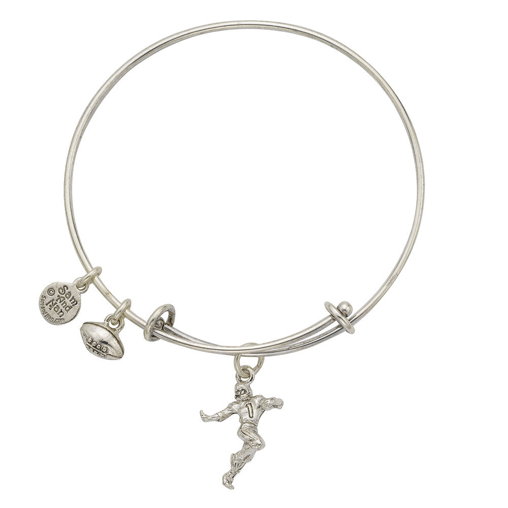 Football Player Charm Bangle Bracelet - SamandNan - 1