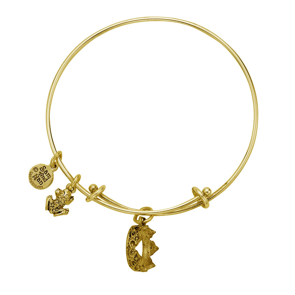 Crown Frog Charm Bangle Bracelet - SamandNan