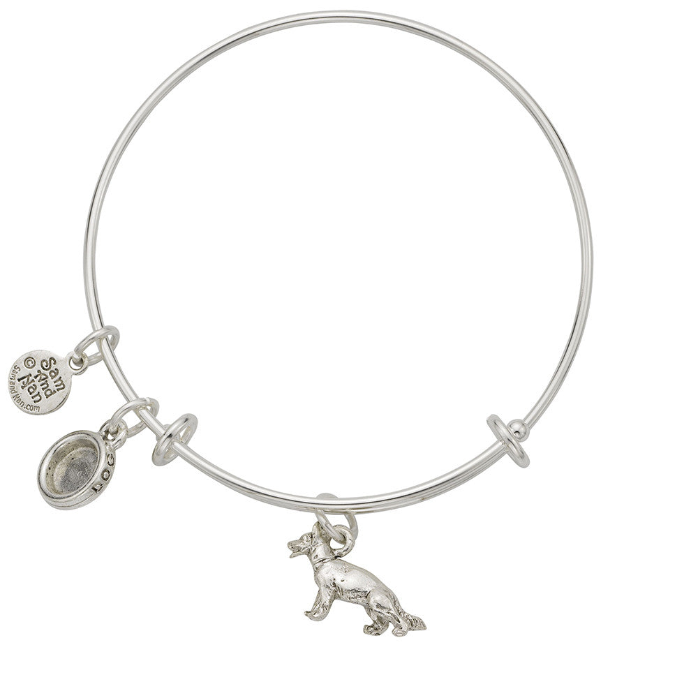 German Shepherd Bowl Charm Bangle Bracelet - SamandNan