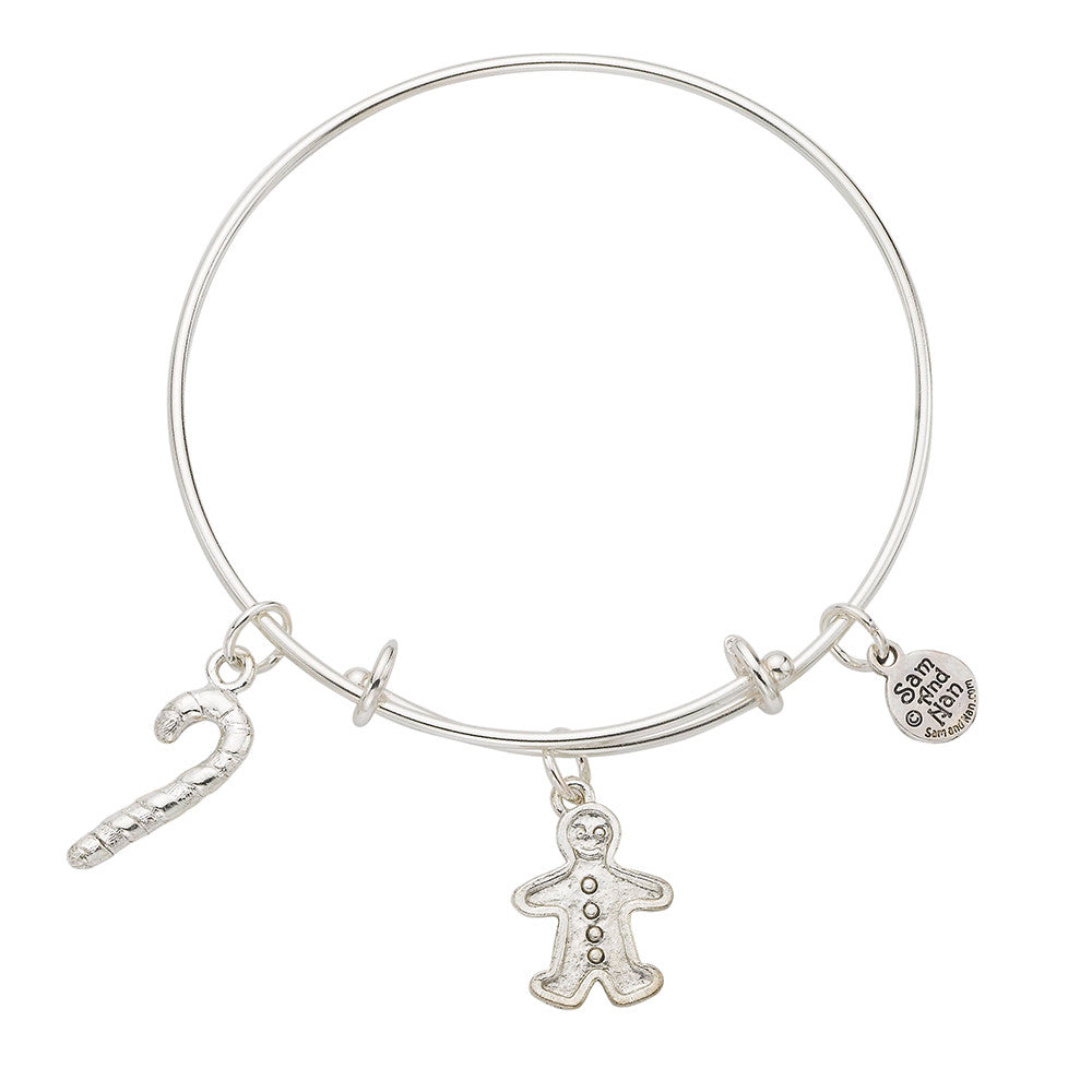 Gingerbread Man Candy Cane Bangle Bracelet - SamandNan