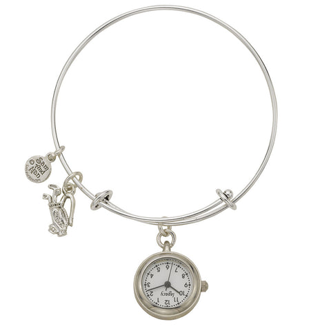 Golf Bag Pendant Watch Silver Bangle Bracelet - SamandNan