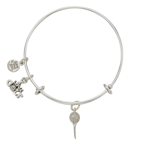 Golf Ball On Tee Charm Bangle Bracelet - SamandNan