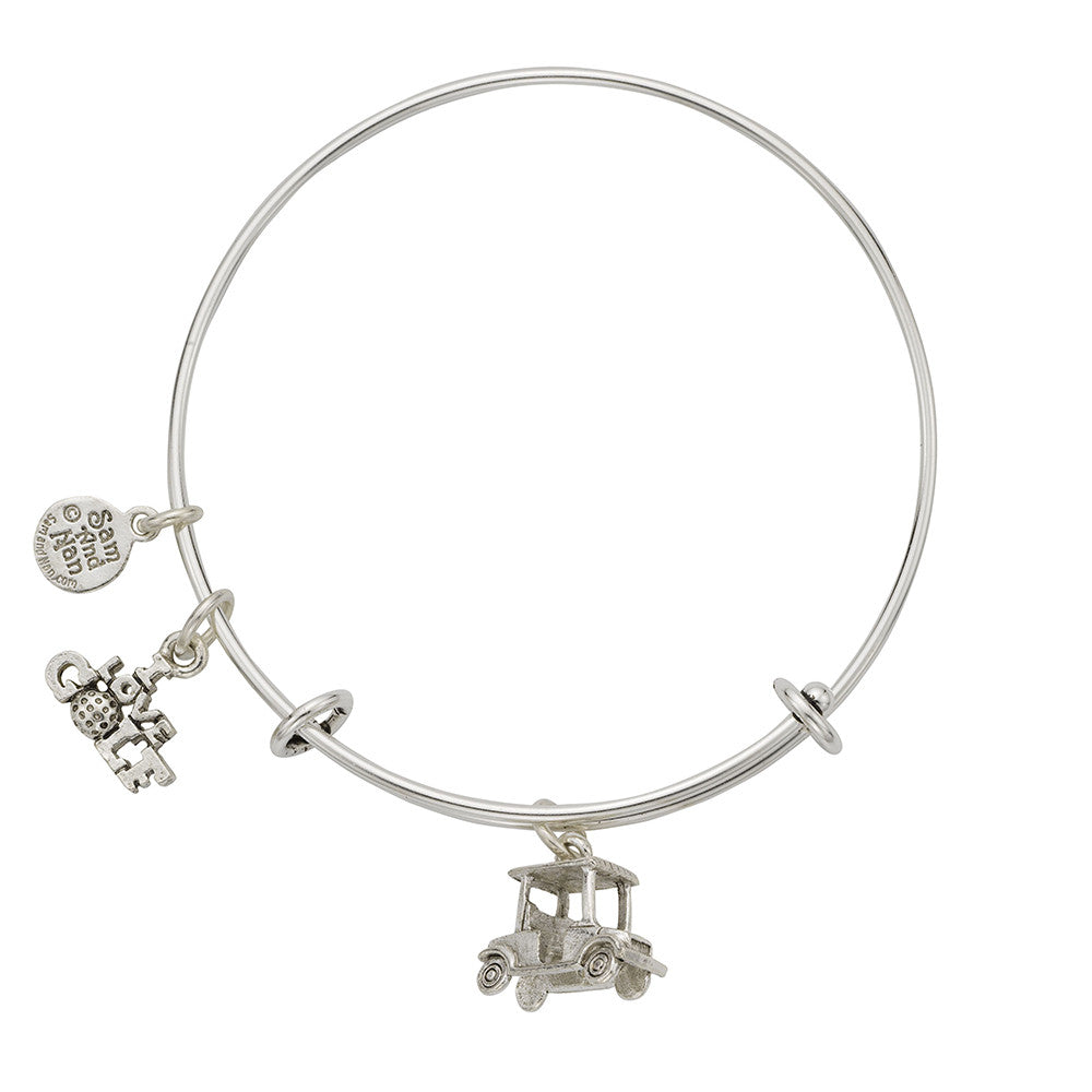 Golf Cart Charm Bangle Bracelet - SamandNan