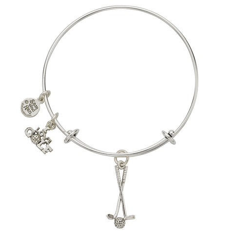 Golf Clubs Charm Bangle Bracelet - SamandNan