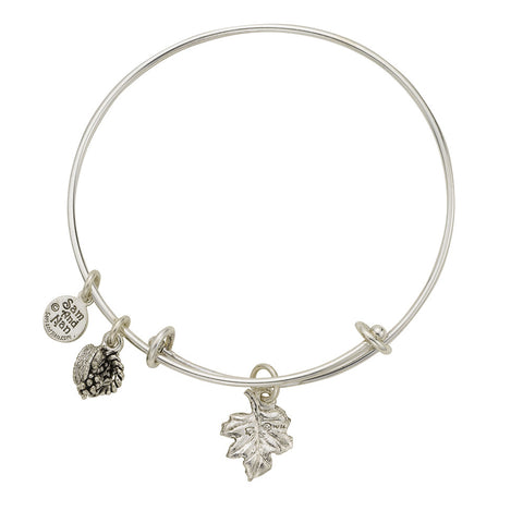 Grape Leaf Basket Charm Bangle Bracelet - SamandNan