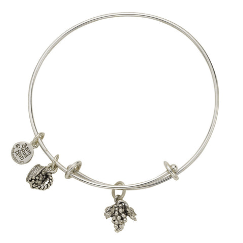 Grapes Basket Charm Bangle Bracelet - SamandNan