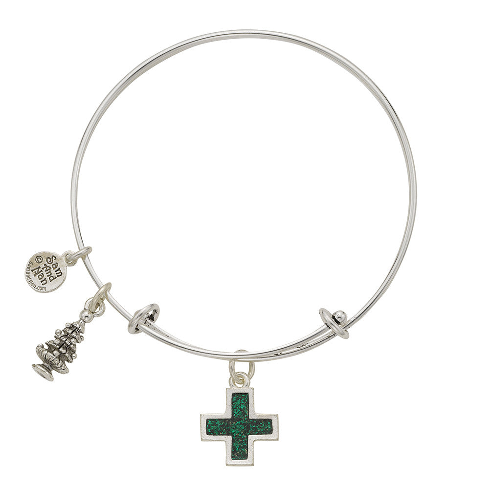 Christmas Tree Cross Charm Bangle Bracelet - SamandNan