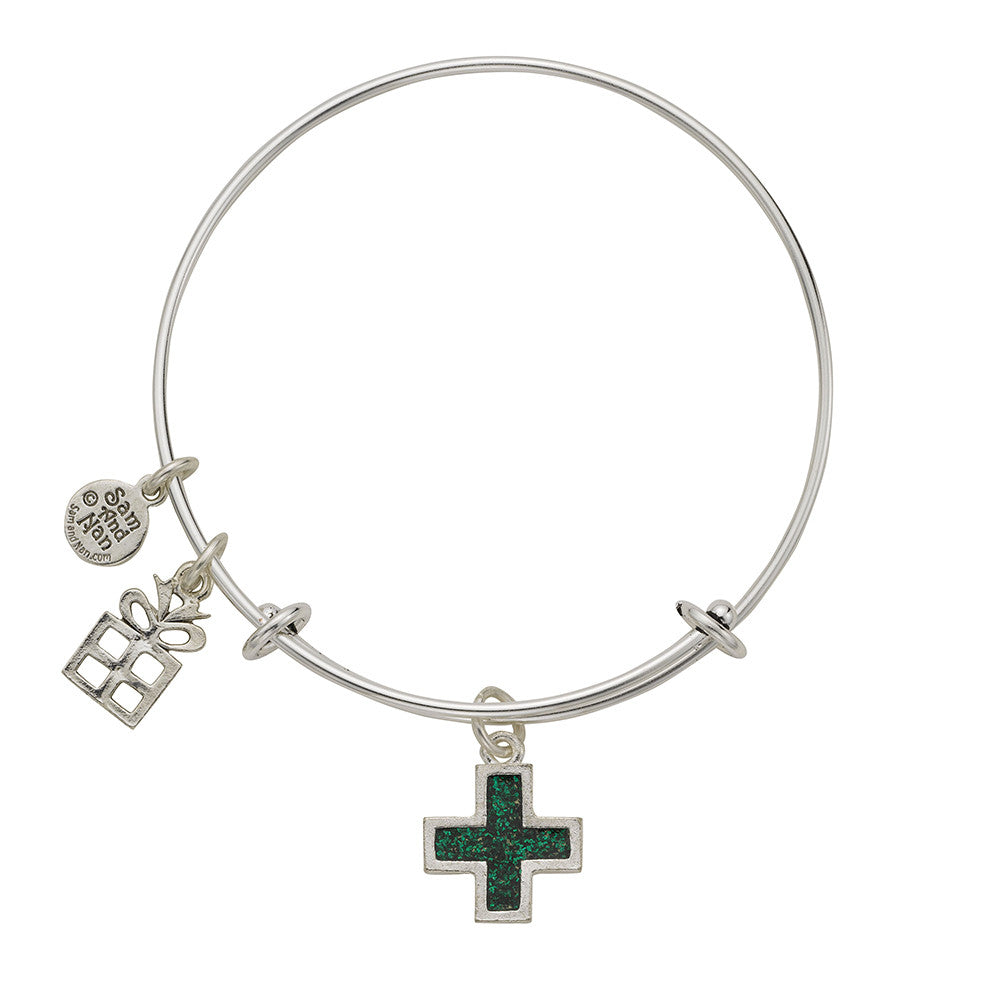 Present Cross Charm Bangle Bracelet - SamandNan