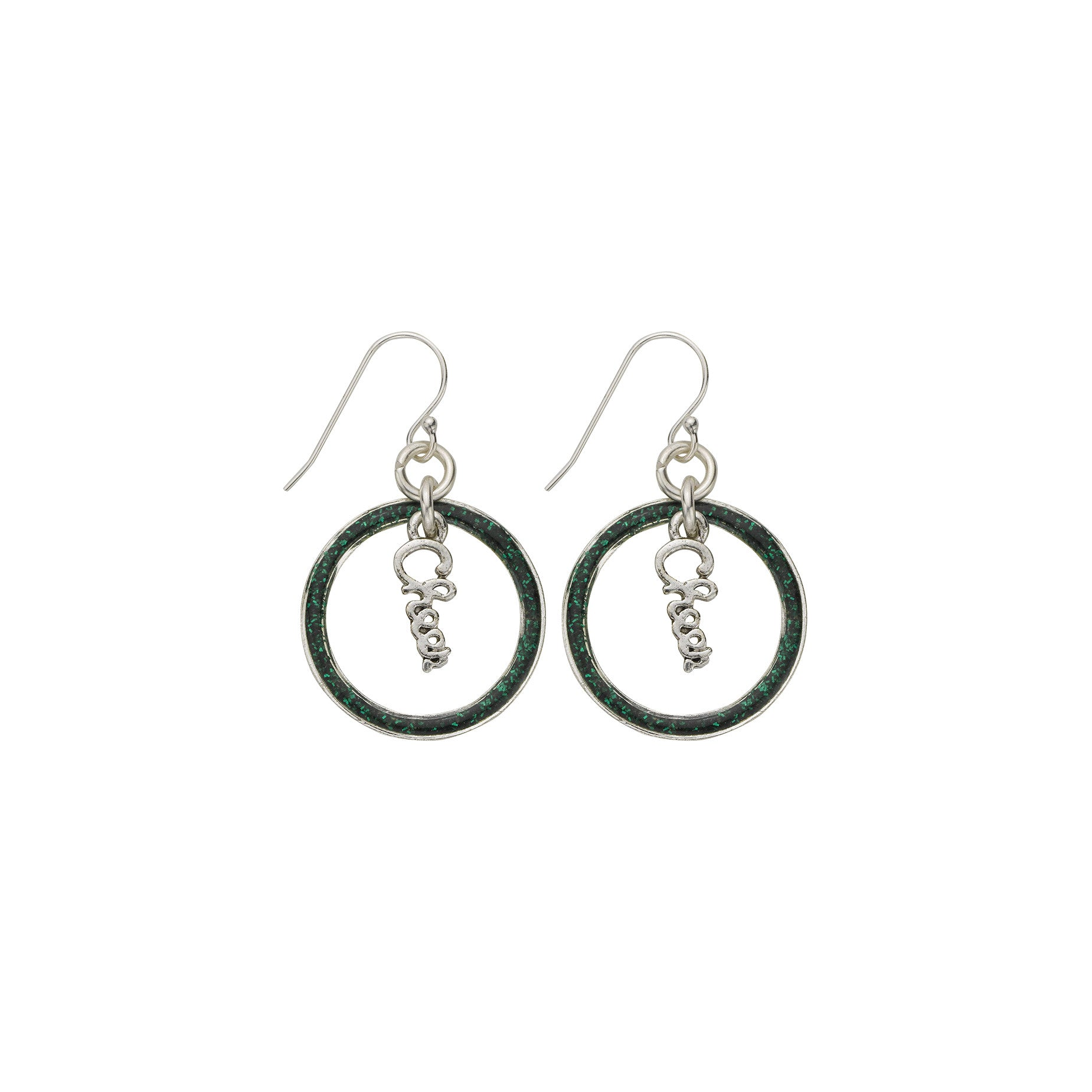 Green Glitter Cheer Hoop Earring - SamandNan