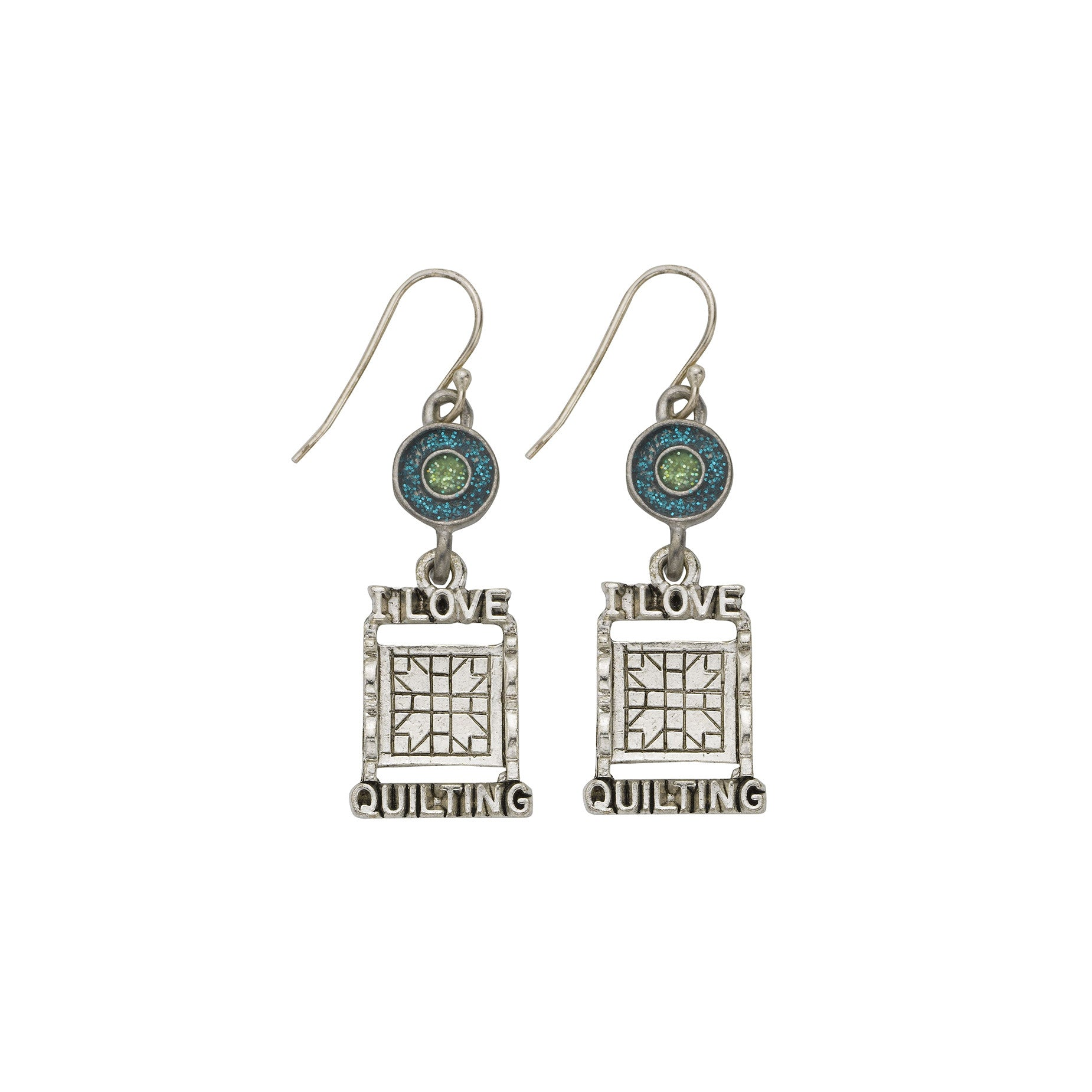 Green Quilt Rack Earrings - SamandNan