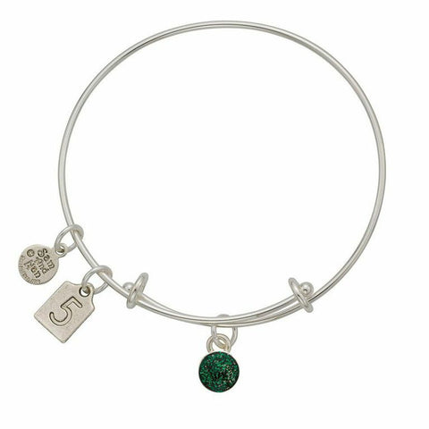 May Green Birthstone Charms Bangle Bracelet - SamandNan