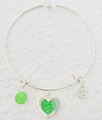 Valentine Green Heart Bangle Bracelet
