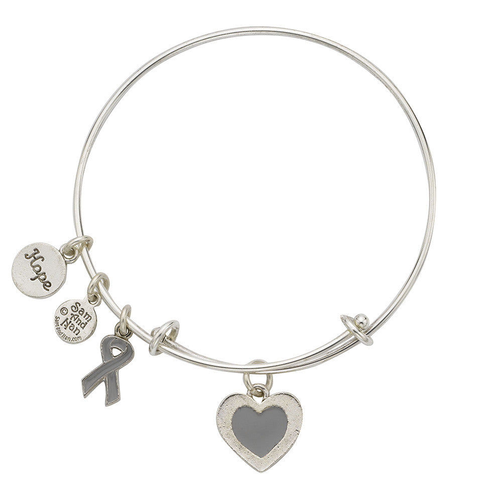 Brain Cancer Bangle Bracelet Grey - SamandNan