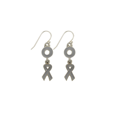 Brain Cancer Earrings Grey - SamandNan