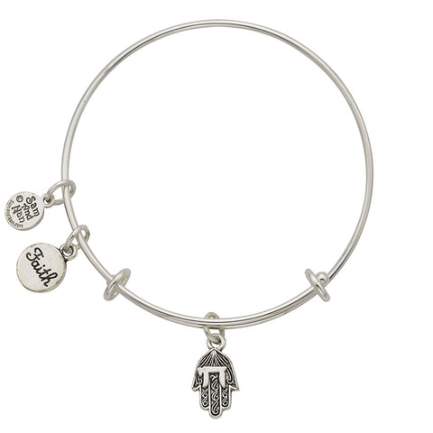 Hamsa Hand, Faith Charm Bangle Bracelet - SamandNan