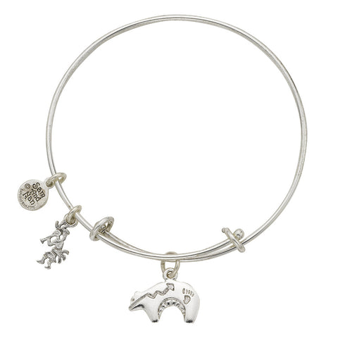 Heartline Bear Charm Bangle Bracelet - SamandNan
