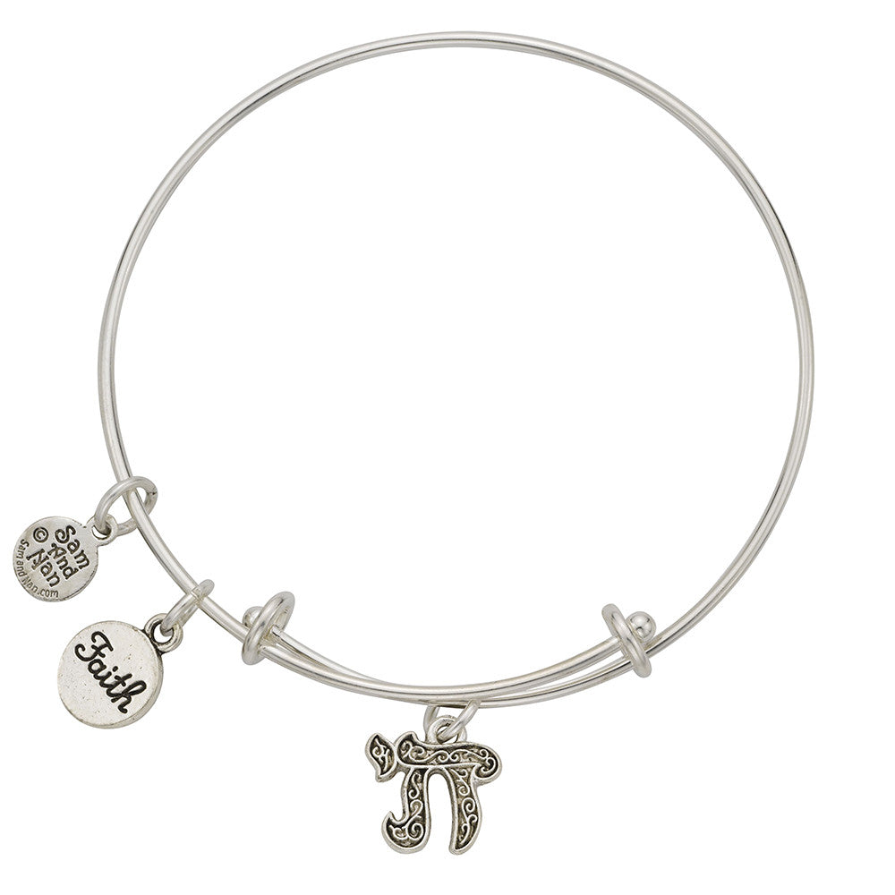 Hebrew Hi, Faith Charm Bangle Bracelet - SamandNan