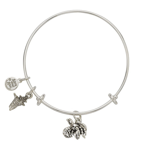 Hermit Crab Conch Charm Bangle Bracelet - SamandNan