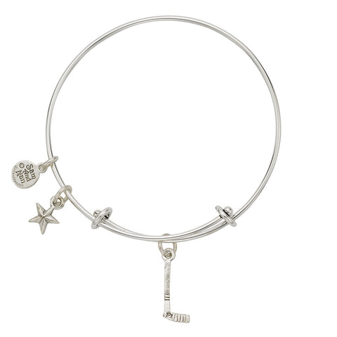 Hockey Stick Charm Bangle Bracelet - SamandNan