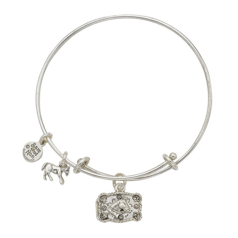 Horse Head Buckle Charm Bangle Bracelet - SamandNan