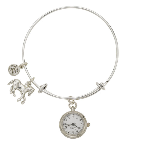 Horse Pendant Watch Silver Bangle Bracelet - SamandNan