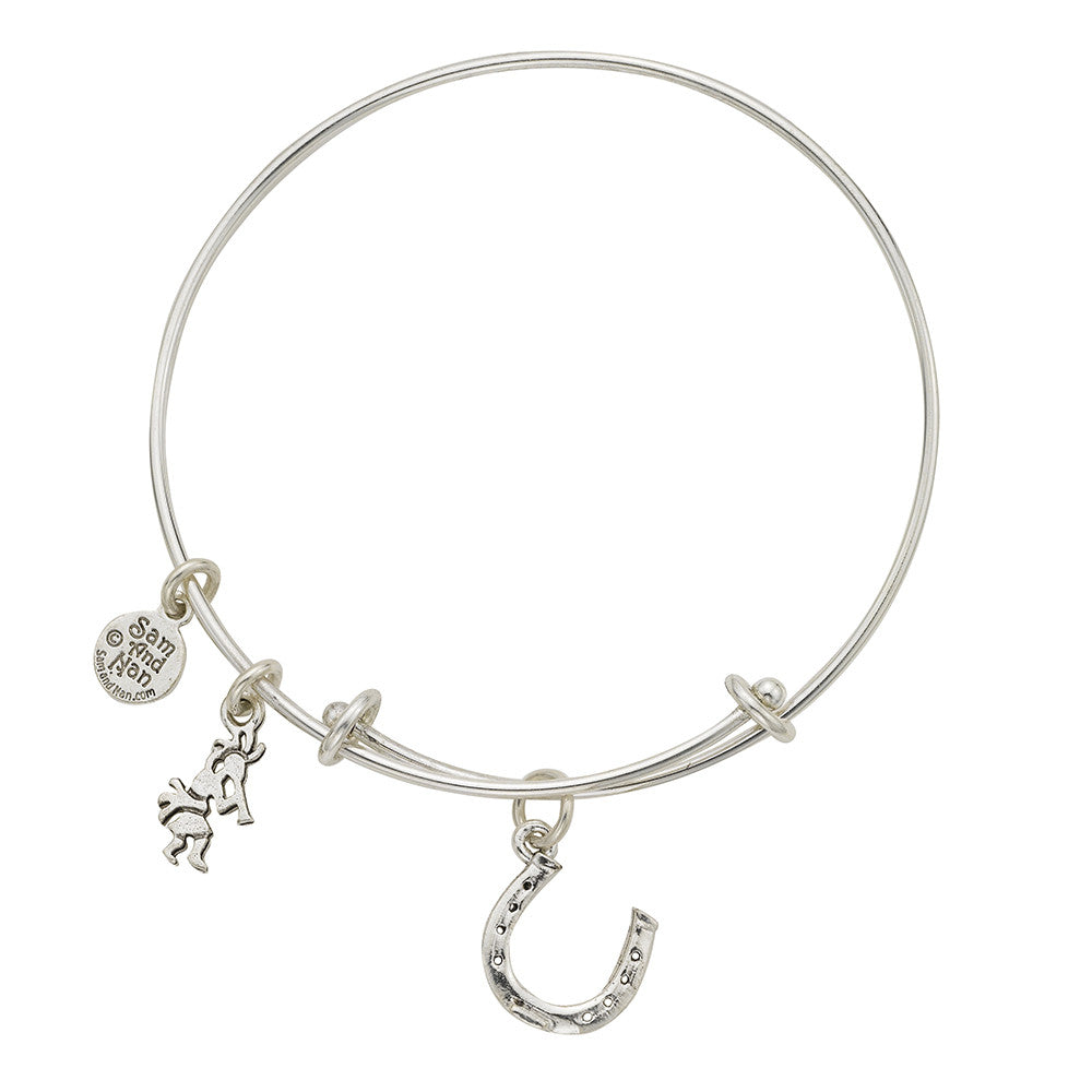 Horse Shoe Charm Bangle Bracelet - SamandNan