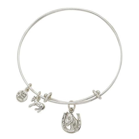 Horse Shoe and Horse Head Charm Bangle Bracelet - SamandNan
