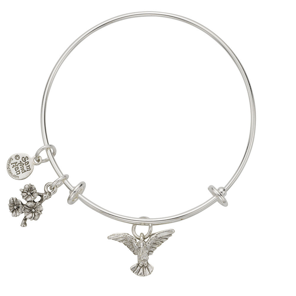 Hummingbird Charm Bangle Bracelet - SamandNan