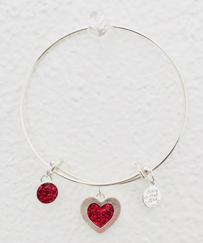 Valentine Red Heart Bangle Bracelet