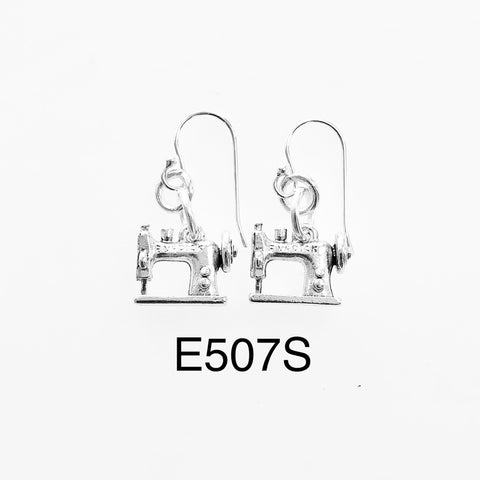 Quilting Sewing Machine Earring with Sterling Earring Wire