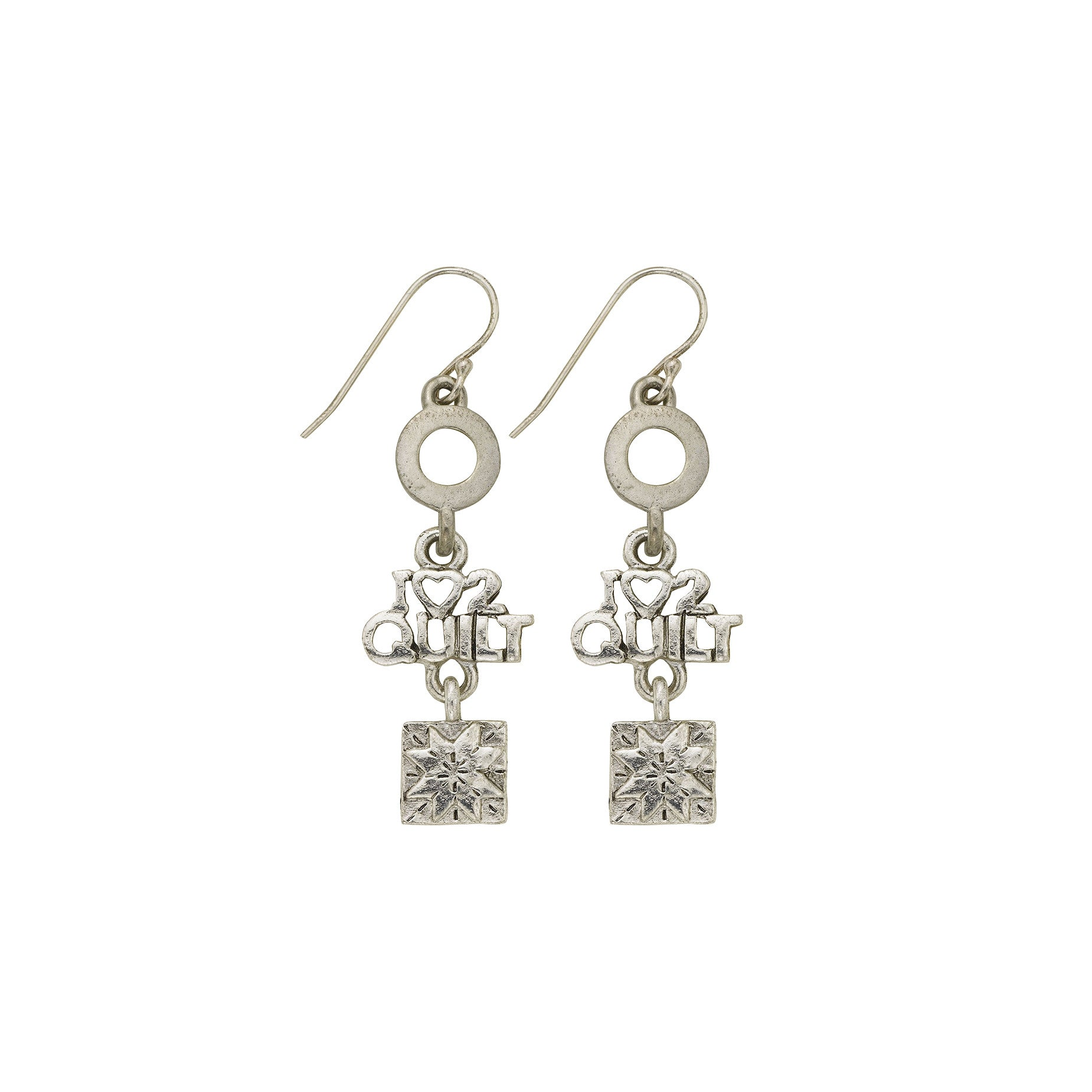 I Love 2 Quilt Earrings - SamandNan