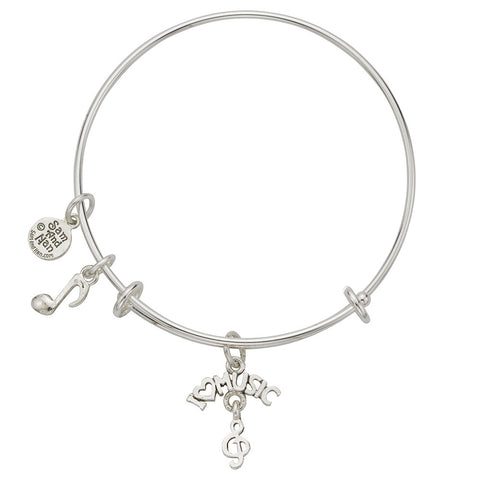 I Love Music Charm Bangle Bracelet - SamandNan