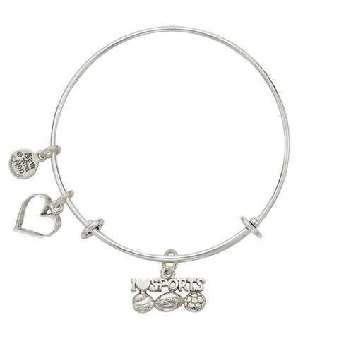 I Love Sports Charm Bangle Bracelet - SamandNan