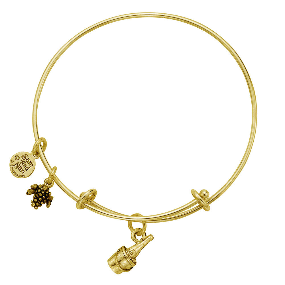 Ice Bucket & Wine Charm Bangle Bracelet - SamandNan - 2