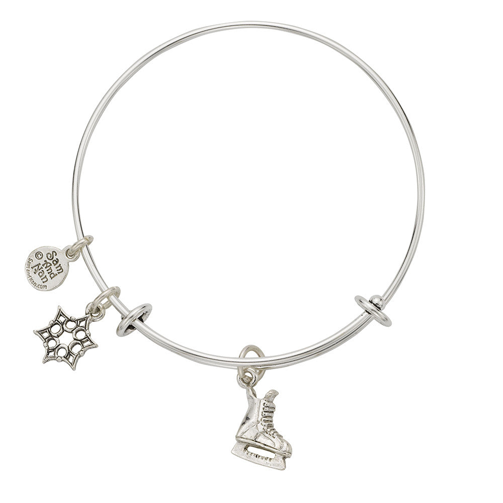 Ice Skate Charm Bangle Bracelet - SamandNan
