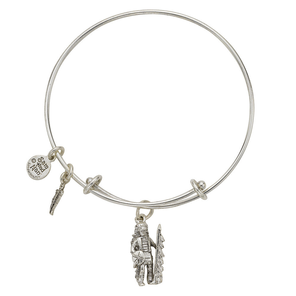 Indian Chief Charm Bangle Bracelet - SamandNan