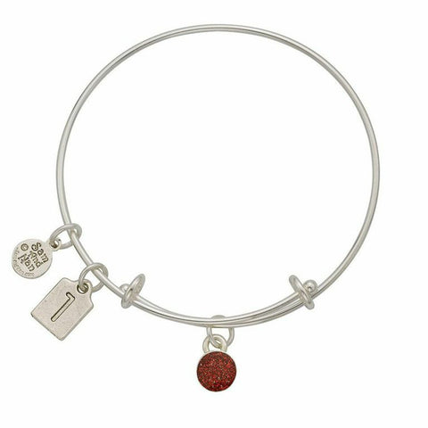 January Red Birthstone Charms Bangle Bracelet - SamandNan
