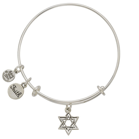 Jewish Star, Faith Charm Bangle Bracelet - SamandNan