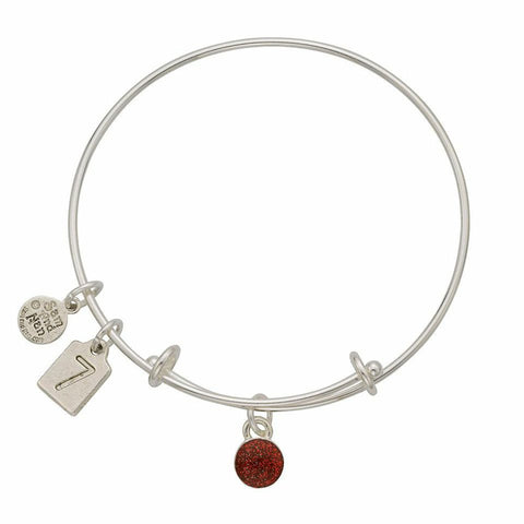 July Red Birthstone Charms Bangle Bracelet - SamandNan