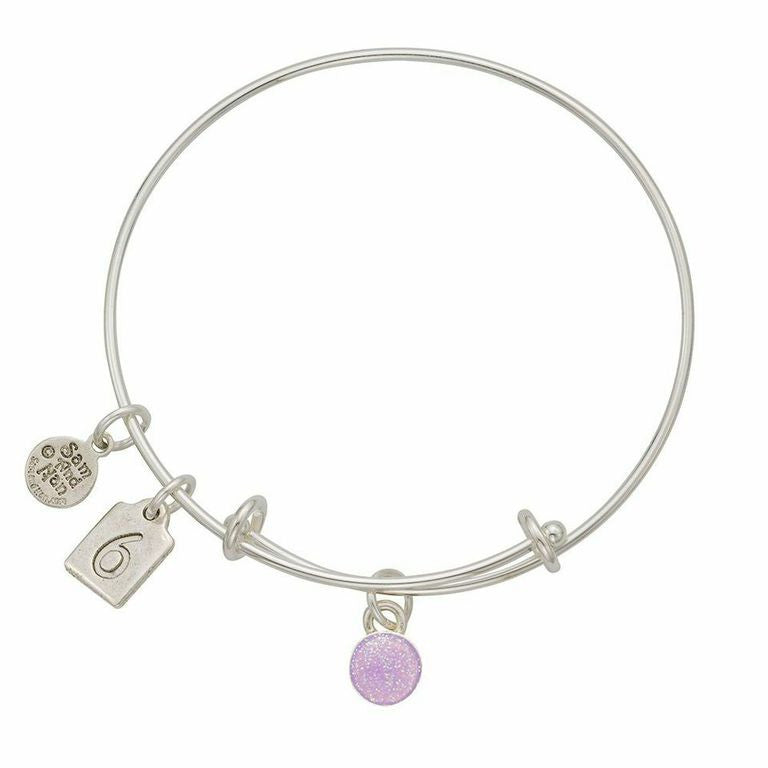 June Pink Birthstone Charms Bangle Bracelet - SamandNan