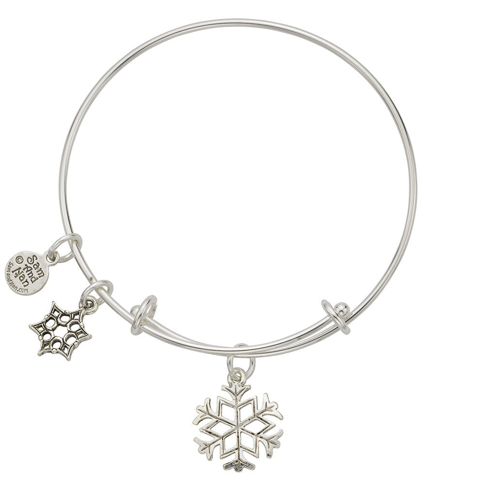 Large Snowflake Charm Bangle Bracelet - SamandNan