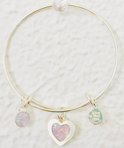 Valentine Light Pink Heart Bangle Bracelet