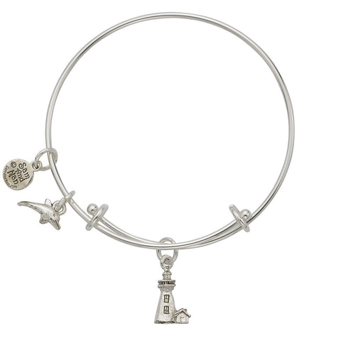Lighthouse Dolphin Charm Bangle Bracelet - SamandNan