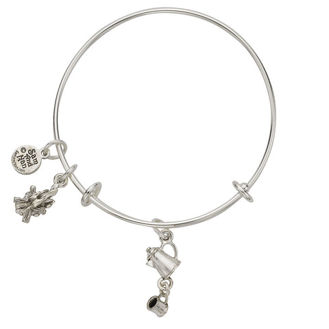 Linked Coffee Pot Camp Fire Charm Bangle Bracelet - SamandNan